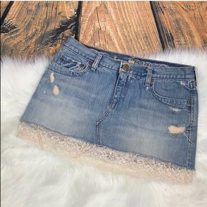 Destroyed Ivory Lace Hem Trim Denim Jean Skirt